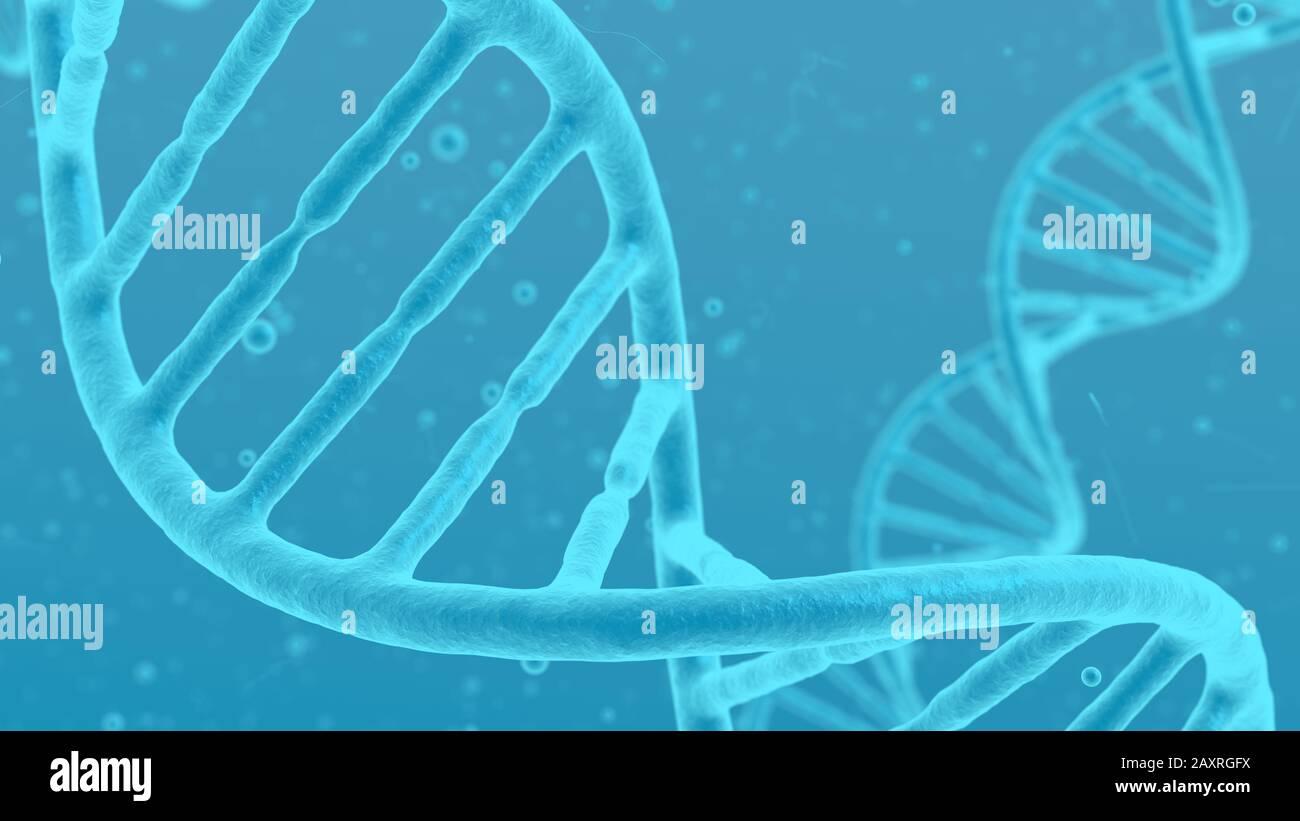 ADN hélice molécula azul abstracto fondo. Cierre microscópico de células trenzadas. Ciencia de la modificación genética y concepto médico. Foto de stock