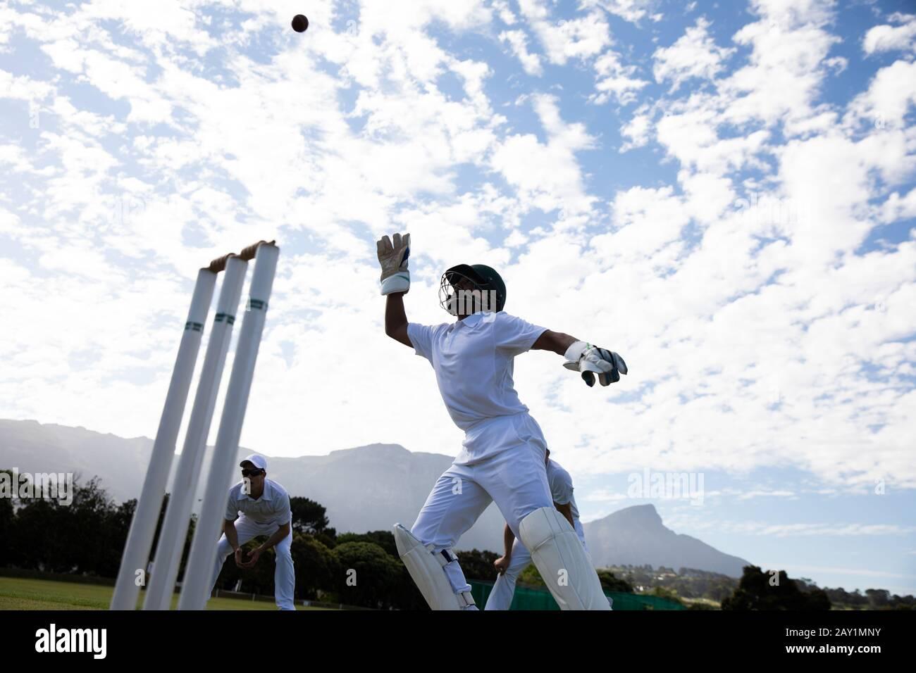 Jugador de cricket agarrando el balón Foto de stock