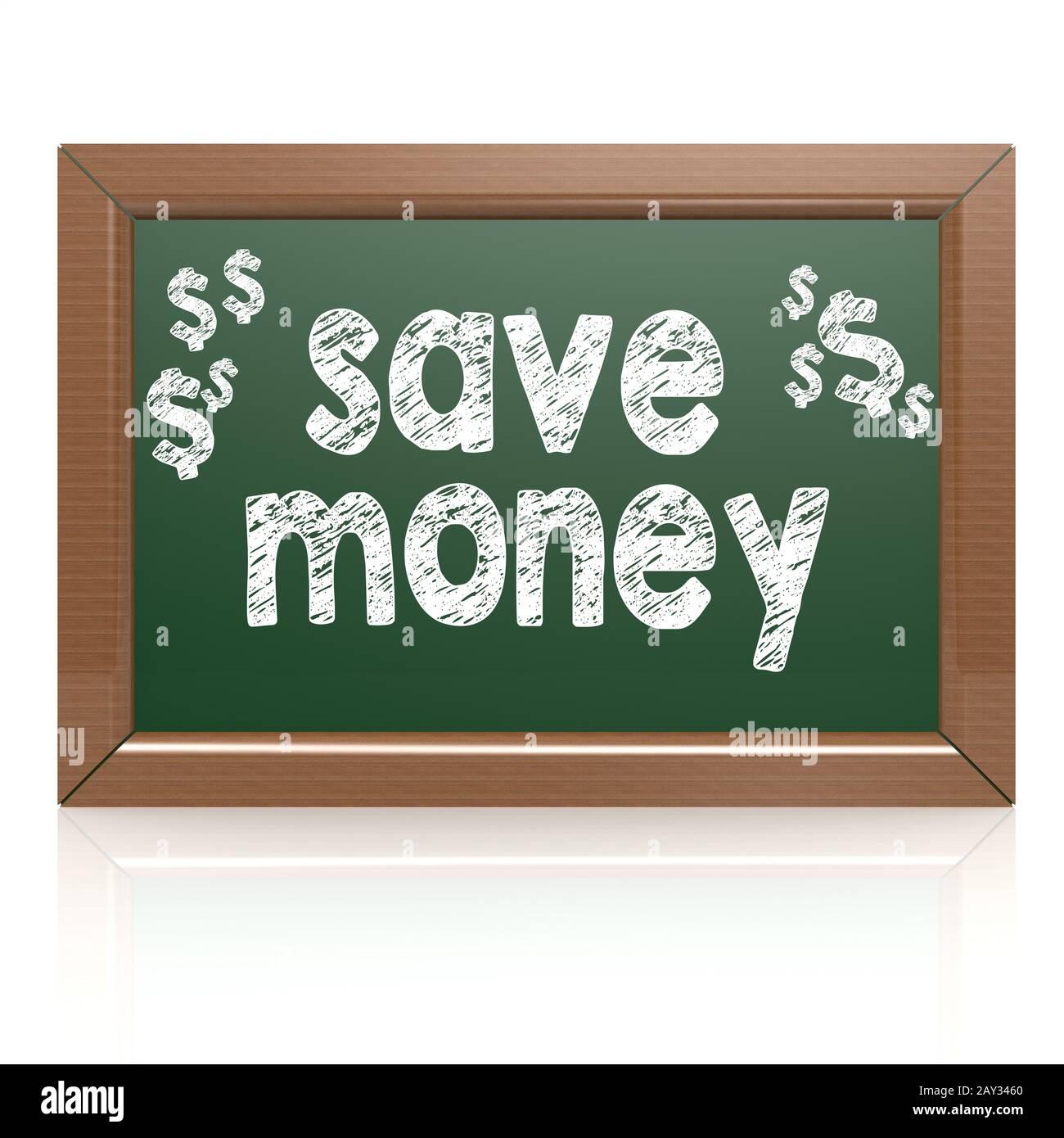 Guarde las palabras del dinero en una pizarra Foto de stock