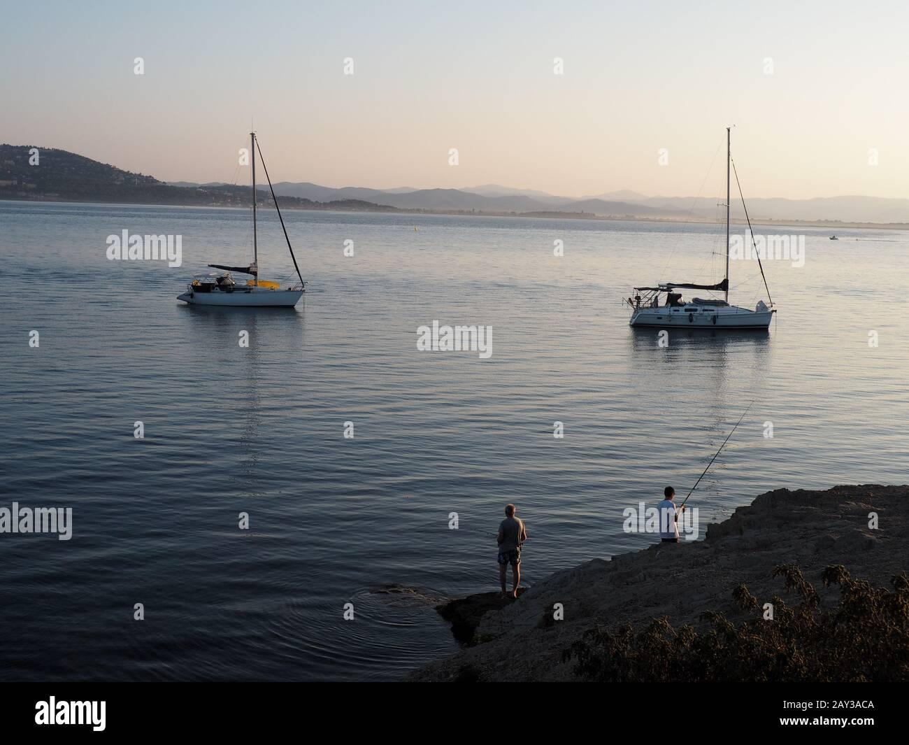 Lugares de viaje en Francia, hyères Francia, ubicación costera y playa Foto de stock