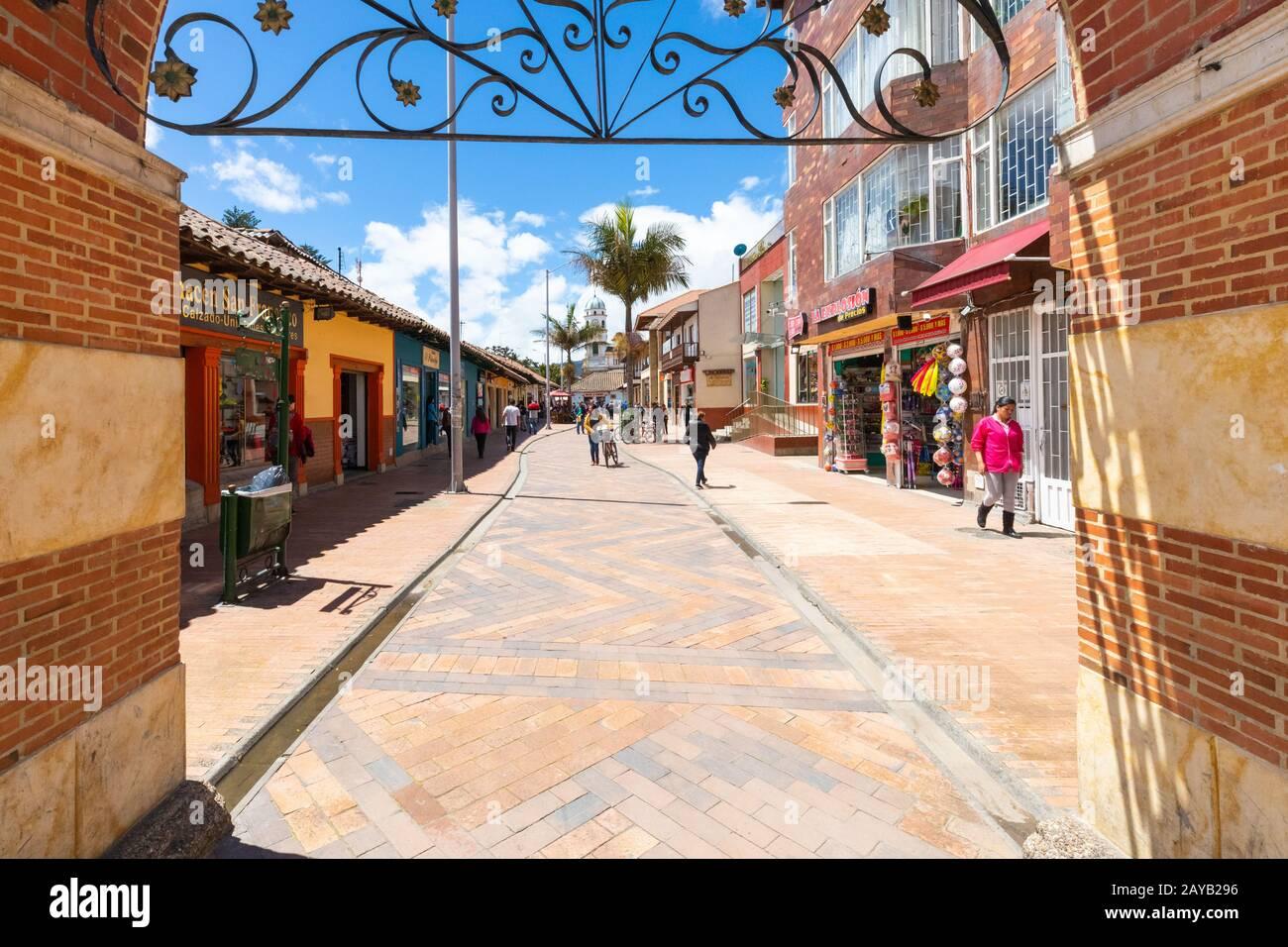 Colombia Arco de entrada del Chia en el centro histórico Foto de stock