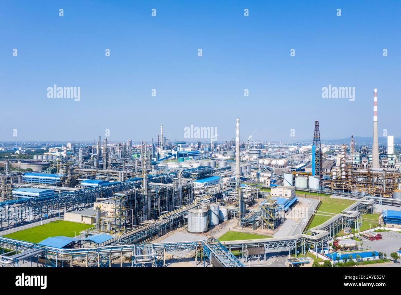 Refinería de petróleo petroquímica Foto de stock