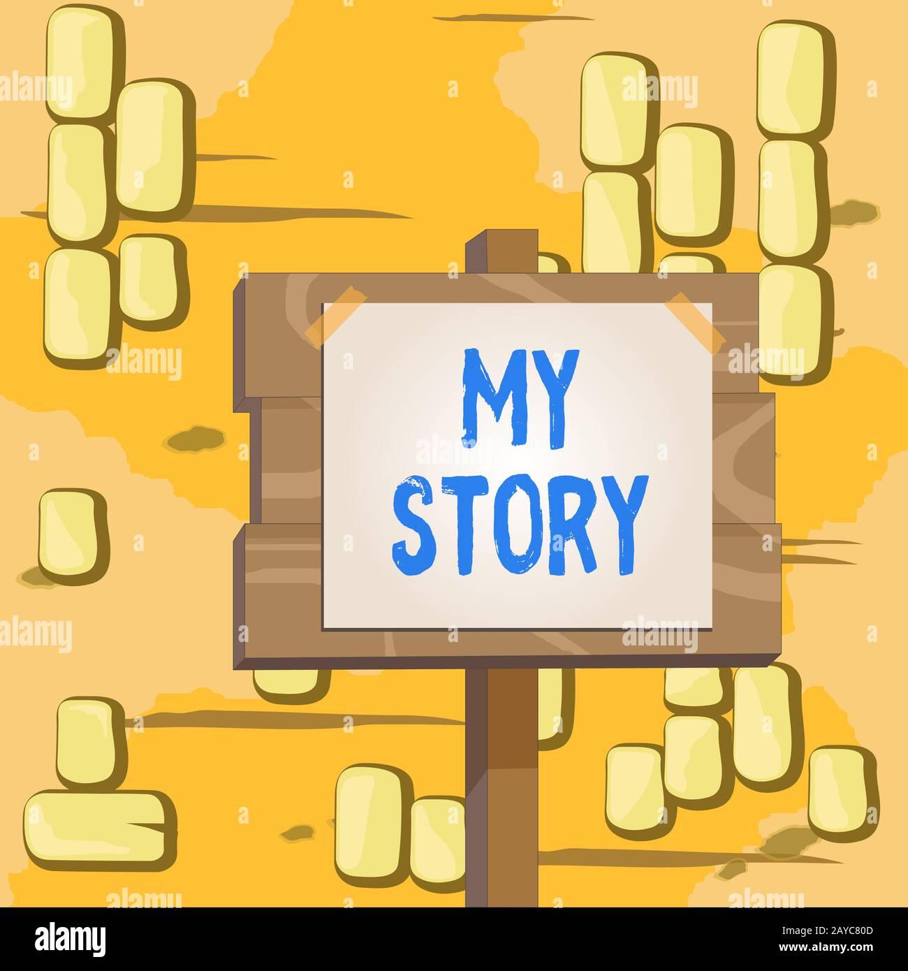 Texto de escritura de palabras Mi historia. Concepto de negocio para las cosas o situaciones que han sucedido a alguien en la vida Madera tablón woode Foto de stock