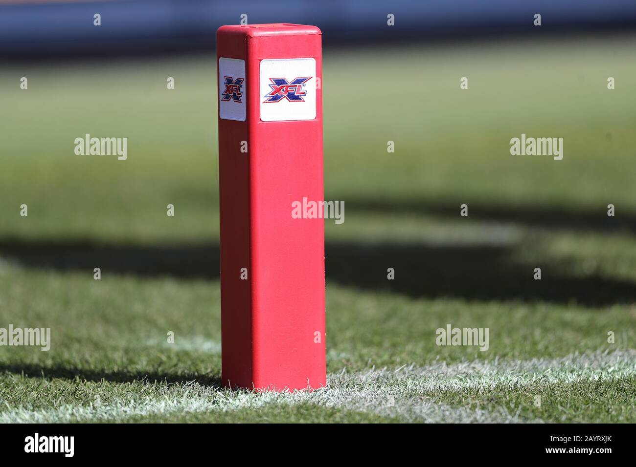 Febrero 16, 2020: XFL pilone de la zona final en el juego entre Dallas Renegades y los Angeles Wildcats, Dignity Health Sports Park, Carson, CA. Peter Joneleit/CSM Foto de stock