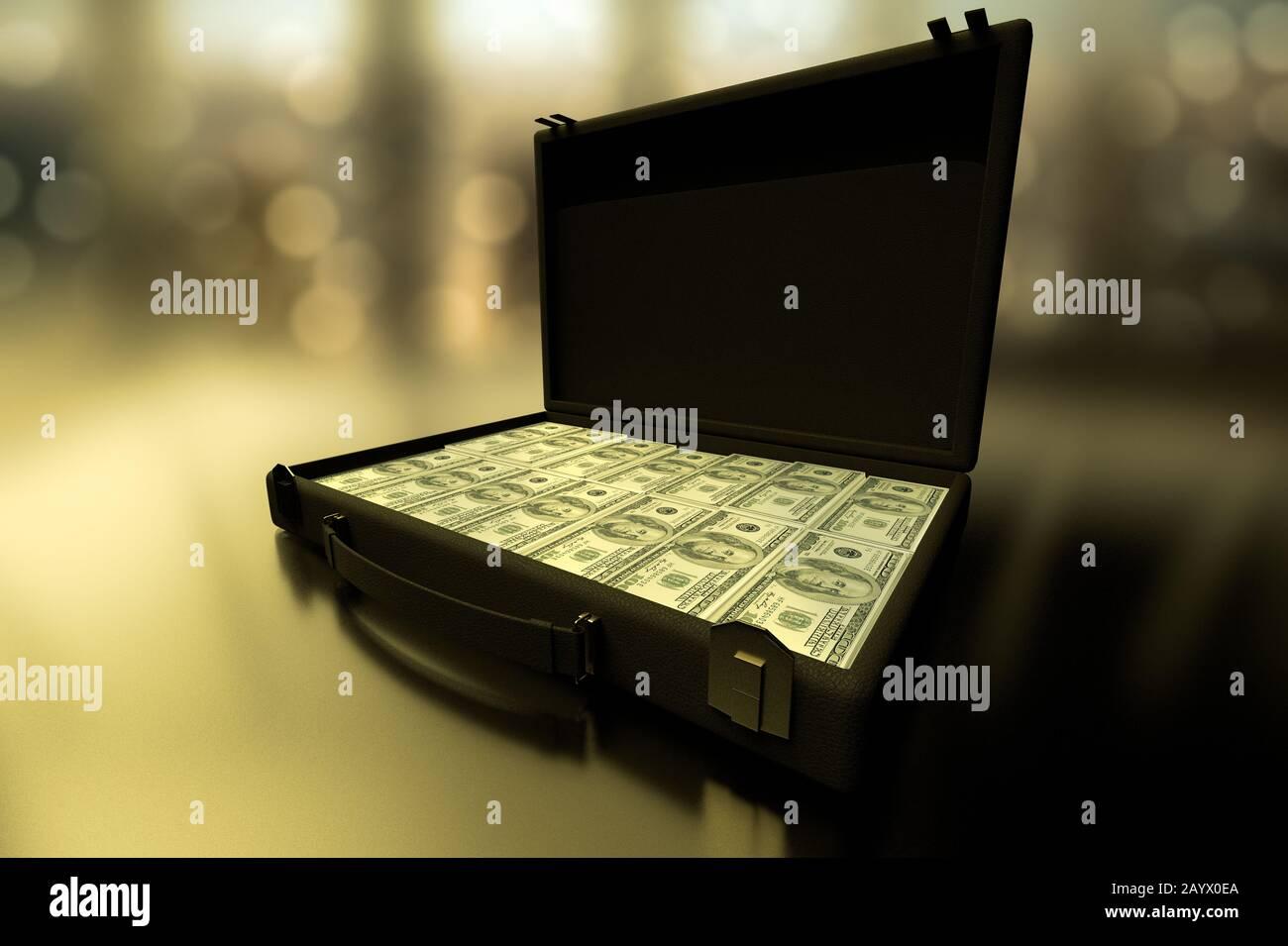 Presentación en 3D de un primer plano de un maletín lleno de dinero. Foto de stock