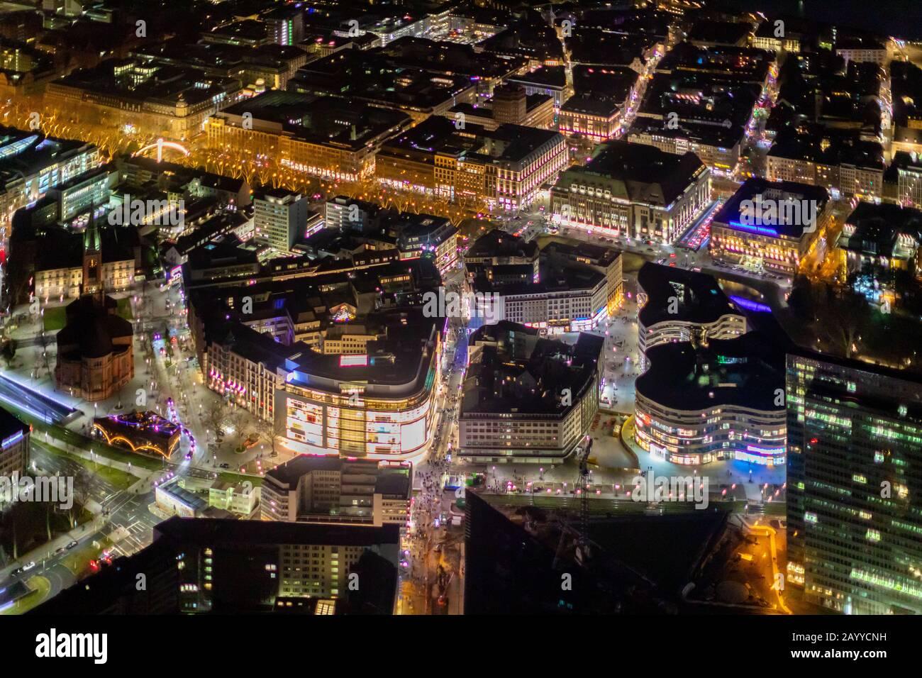 Foto aérea, centro comercial, Schadow Arcades, LÖ, Königsallee, Düsseldorf, Renania del Norte, Renania-Westfalia, Alemania, DEU, Europa, vista de pájaro, Foto de stock