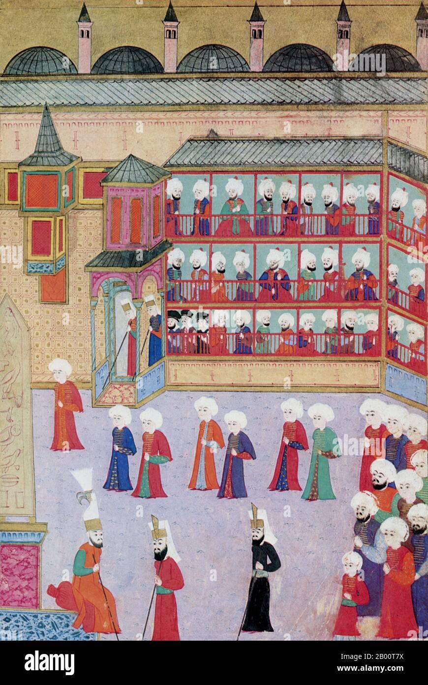 Turquía: Pintura para celebrar la circuncisión del hijo del sultán otomano Murat III Shezade Mehmet en 1582. Sultán del Imperio Otomano, Murad III (4 de julio de 1546 – 15/16 de enero de 1595) fue el hijo mayor del Sultán Selim II (1566–74), y sucedió a su padre en 1574. Murad comenzó su reinado con sus cinco hermanos más jóvenes estrangulados. Su autoridad fue socavada por las influencias harem, más específicamente, las de su madre y más tarde de su esposa favorita Safiye Sultan. El reinado de Murad III estuvo marcado por guerras con Safavids y Habsburgo y decadencia económica otomana y deterioro institucional. Foto de stock
