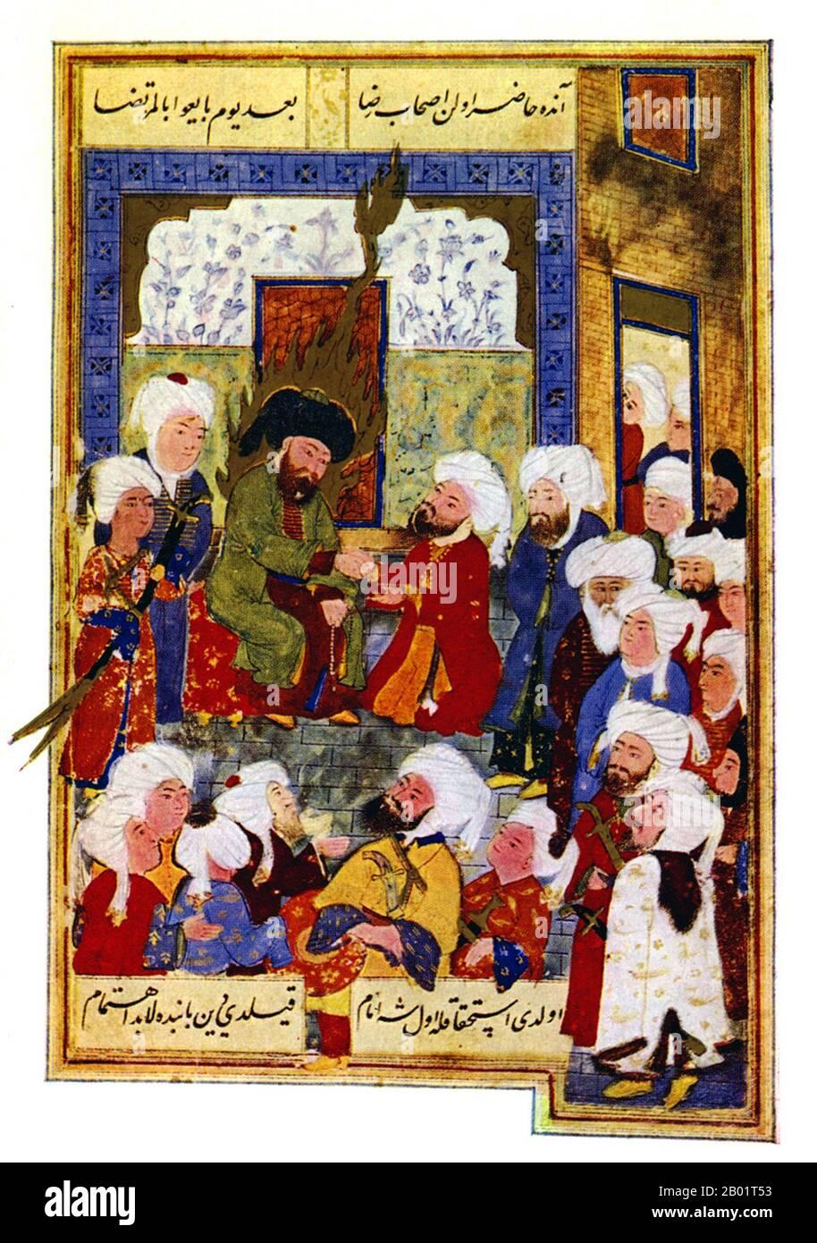 Alī ibn Abī Ṭālib (árabe: علي بن أﺑﻲ طالب;, c. 598-661 CE). Hijo de Abu Talib, Ali también fue primo e yerno del Profeta, Muhammad, que gobernó sobre el Califato Islámico de 656 a 661, y fue el primer hombre convertido al Islam. Los sunitas consideran a Ali el cuarto y último de los Califos de Rashidun (correctamente guiados), mientras que los chiítas consideran a Ali como el primer imán y lo consideran a él y a sus descendientes los sucesores legítimos de Muhammad, todos los cuales son miembros del Ahl al-Bayt, la casa de Muhammad. Este desacuerdo dividió a la Ummah (comunidad musulmana) en las ramas sunita y chiita. Foto de stock