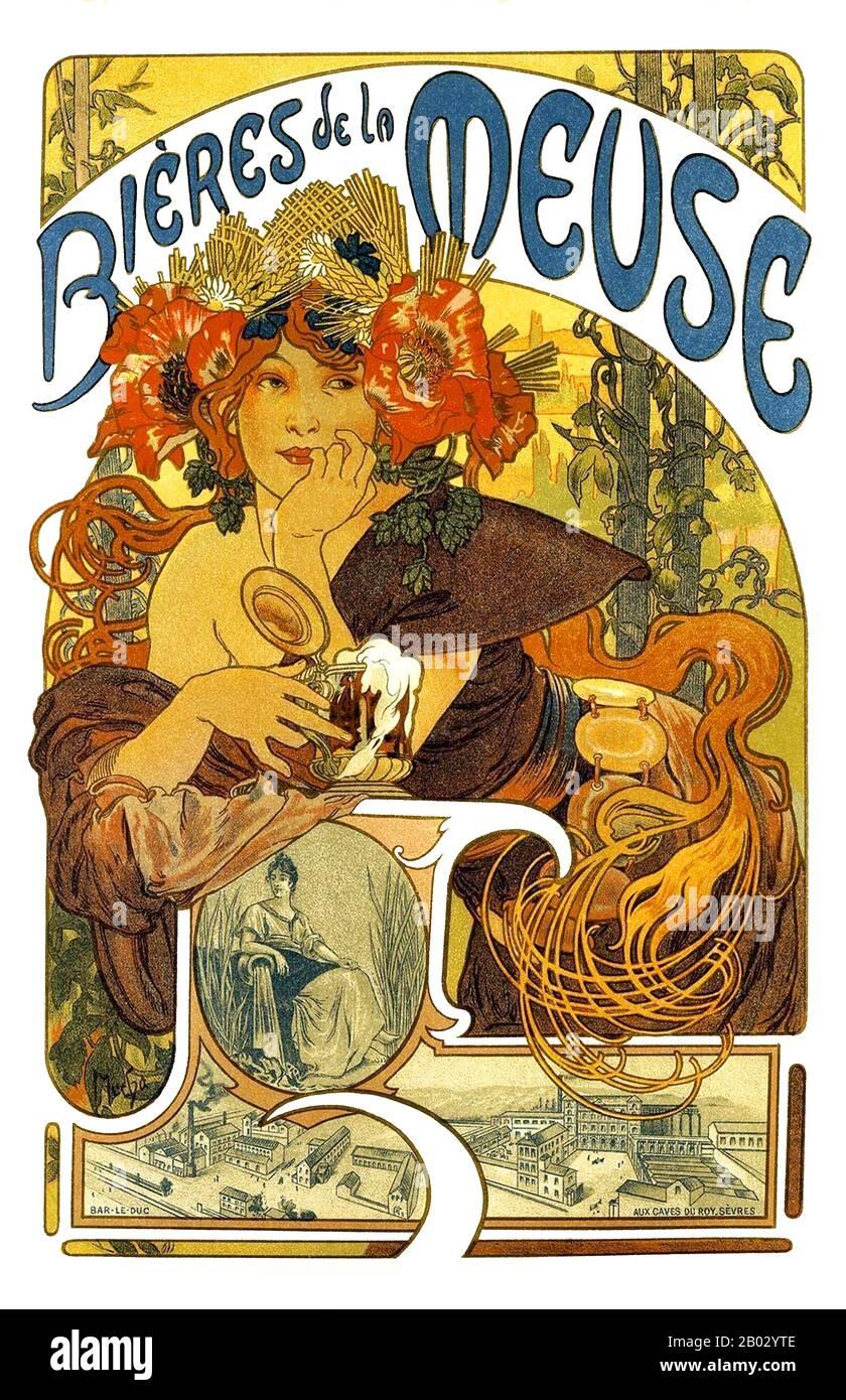 Alfons Maria Mucha (24 de julio de 1860 – 14 de julio de 1939), conocido a menudo en inglés y francés como Alphonse Mucha, fue un pintor y artista decorativo checo de estilo modernista, celebrado por su estilo distintivo. Produjo numerosas pinturas, ilustraciones, anuncios, postales y diseños. Foto de stock