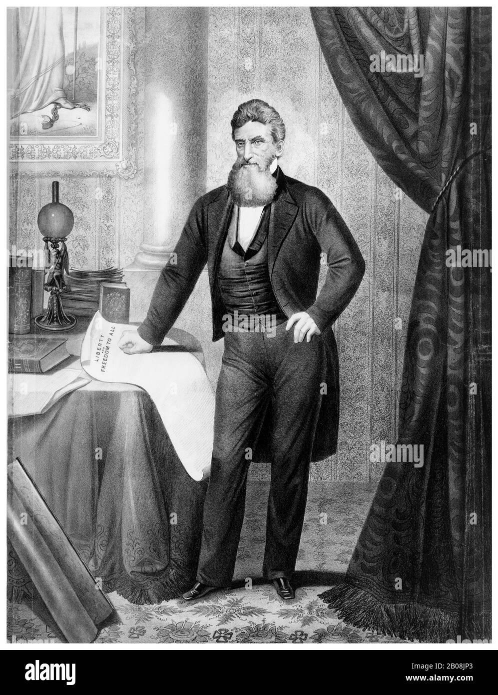 John Brown (1800-1859), Abolicionista, Movimiento contra la Esclavitud, retrato impreso por Anton Hohenstein después de Martin Lawrence, 1866 Foto de stock