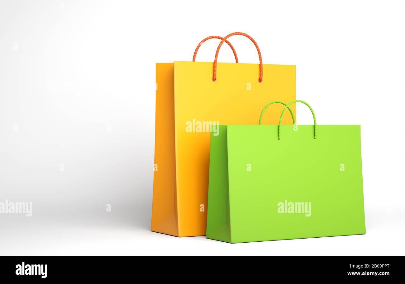 Dos Bolsa de compras vacía sobre el blanco. Ilustración 3D Foto de stock