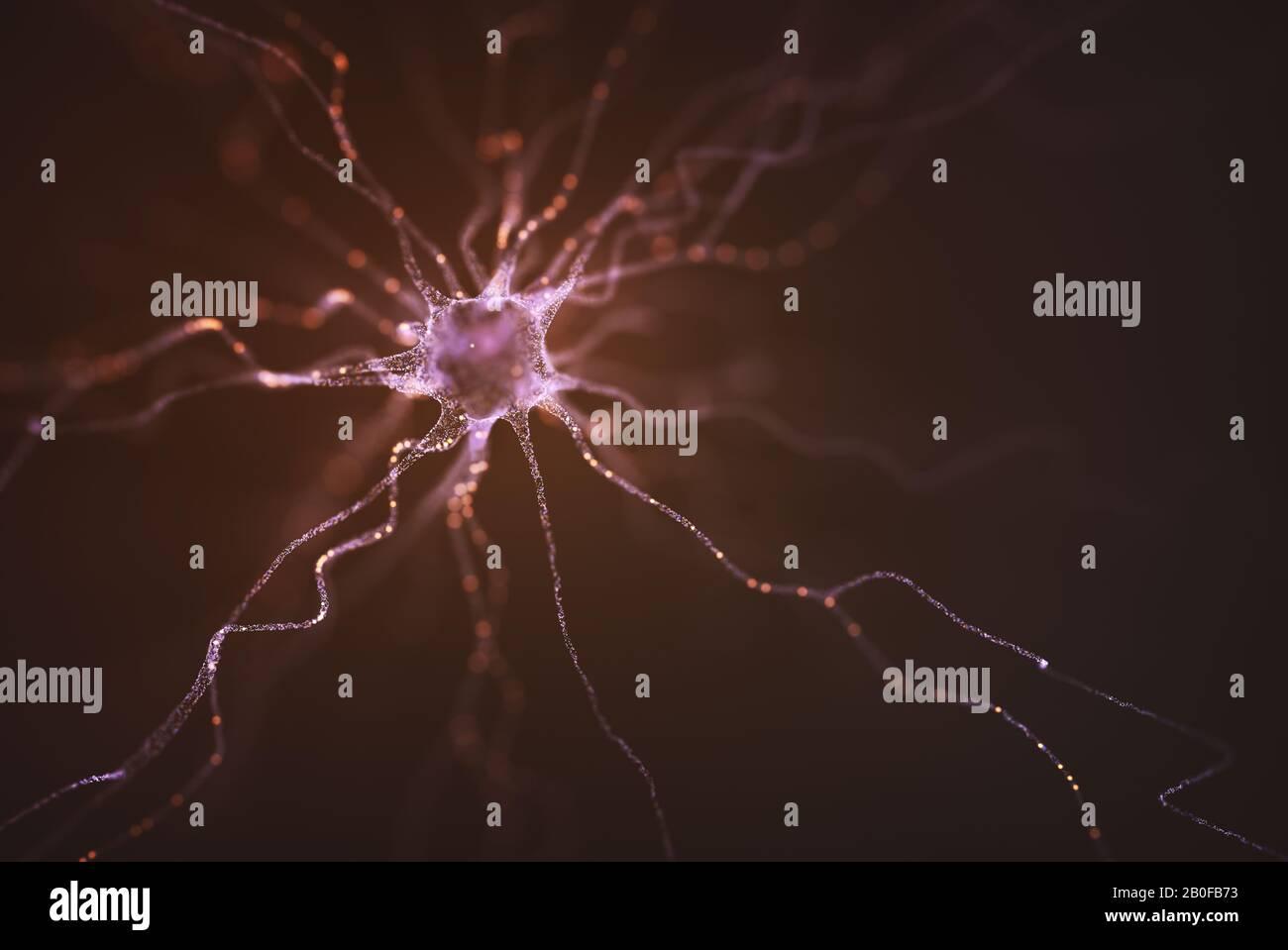 Imagen conceptual de una neurona energizada con carga eléctrica. Concepto de ciencia e investigación del cerebro humano, ilustración en 3D. Foto de stock