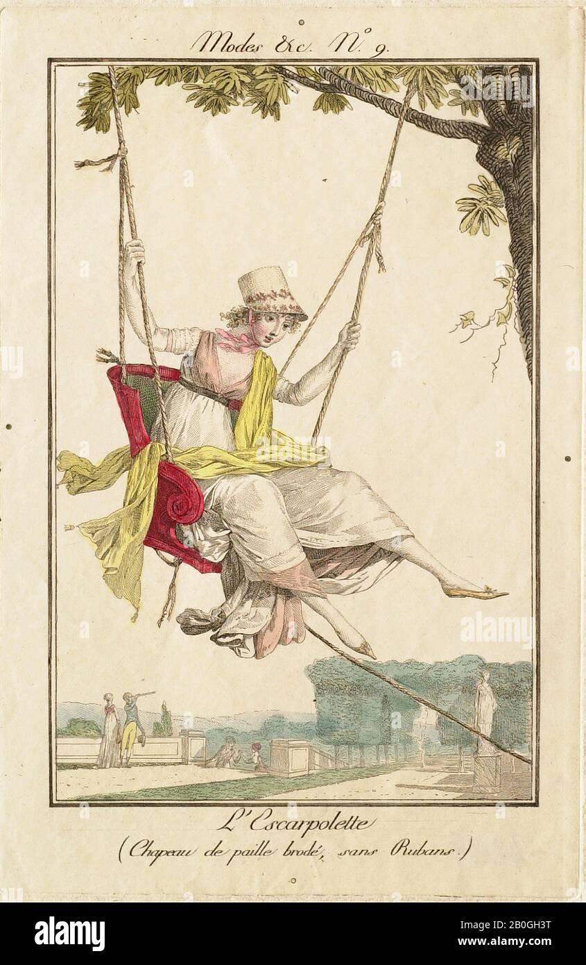 Philibert Louis Didecourt, francés, 1755–1832, Modes et Manières no. 9: L'Escarpolette (Chapeau de paille brodé, sans Rubans), 1800, grabado a Mano sobre papel, borde: 6 1/4 x 3 15/16 pulg. (15.8 x 10 cm Foto de stock