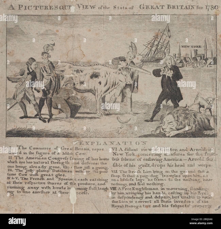 Anónimo, británico, siglo 18, una vista Pintoresca del estado de Gran Bretaña para 1780, Anónimo, británico, siglo 18, 1780, grabado y grabado, hoja: 7 3/16 x 7 5/8 pulg. (18.2 x 19.4 cm), copias Foto de stock