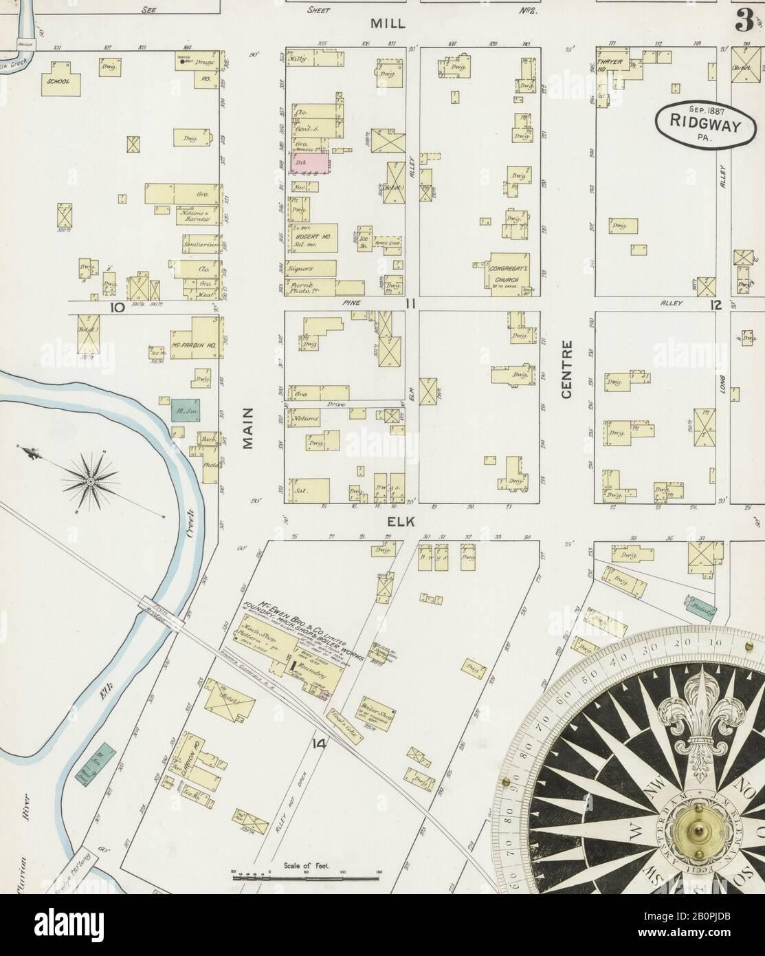 Imagen 3 Del Mapa Del Seguro De Incendios Sanborn De Ridgway, Elk County, Pennsylvania. 1887 De Septiembre. 5 Hoja(s), América, mapa de calles con una brújula del siglo Xix Foto de stock