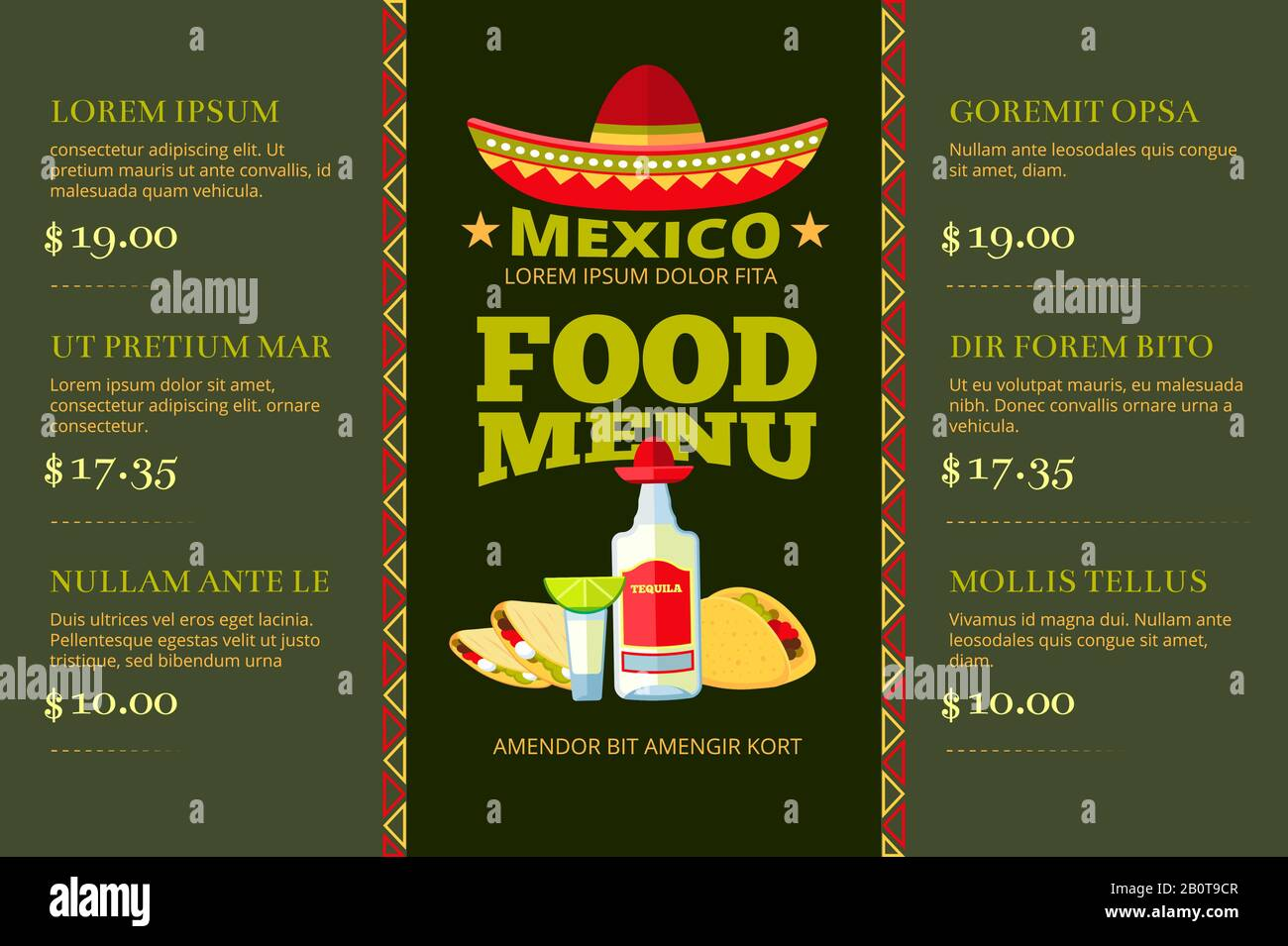 Cocina Mexicana Comida Restaurante Menu Vector Plantilla Menu De Restaurante Mexicano Con Precio Ilustracion Del Menu De La Bandera De Dibujos Animados Imagen Vector De Stock Alamy