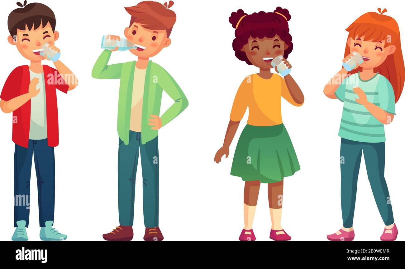 Los niños beben un vaso de agua. Bebidas de niño y niña feliz. Niños beber  nivel de hidratación cuidado vectorial dibujos animados Imagen Vector de  stock - Alamy
