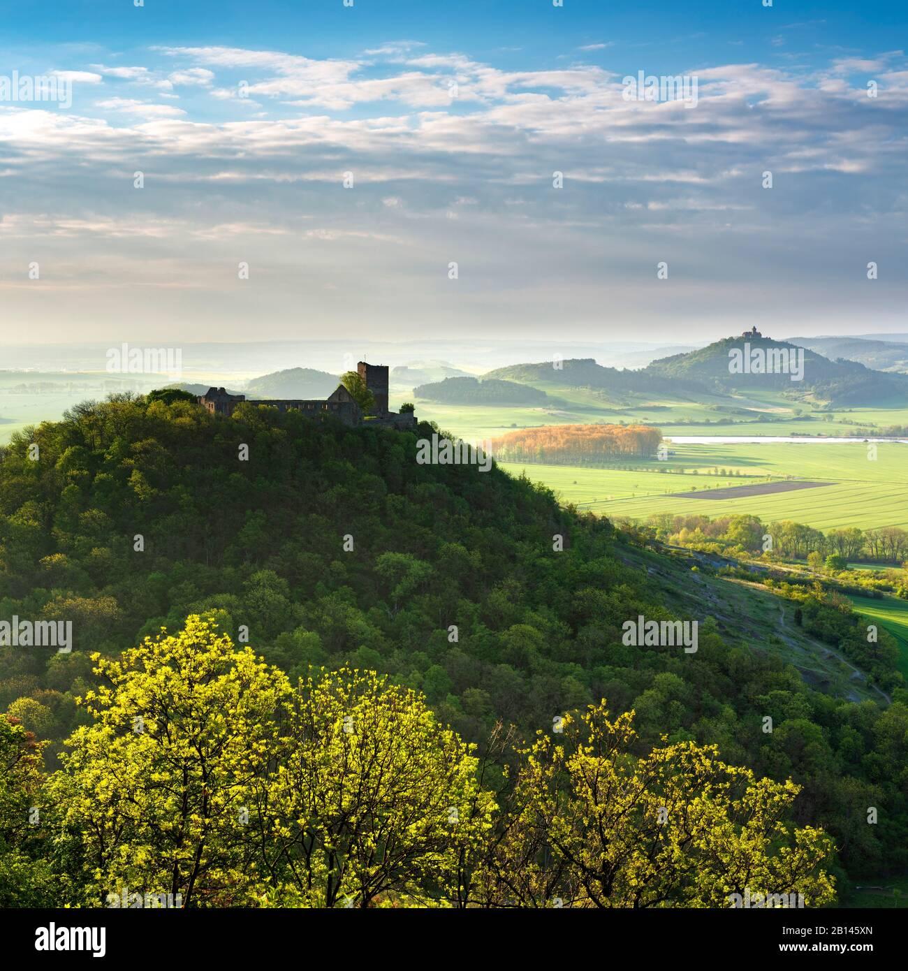 Vista de las ruinas del castillo de Gleichen y de la fortaleza de Wachsenburg, luz de la mañana, Drei Gleichen, Wandersleben, Turingia, Alemania Foto de stock