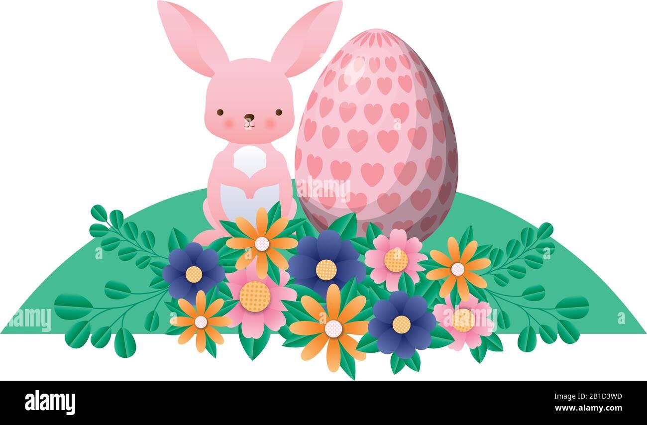 Feliz conejo de pascua con flores de huevo y hojas de diseño vectorial Ilustración del Vector