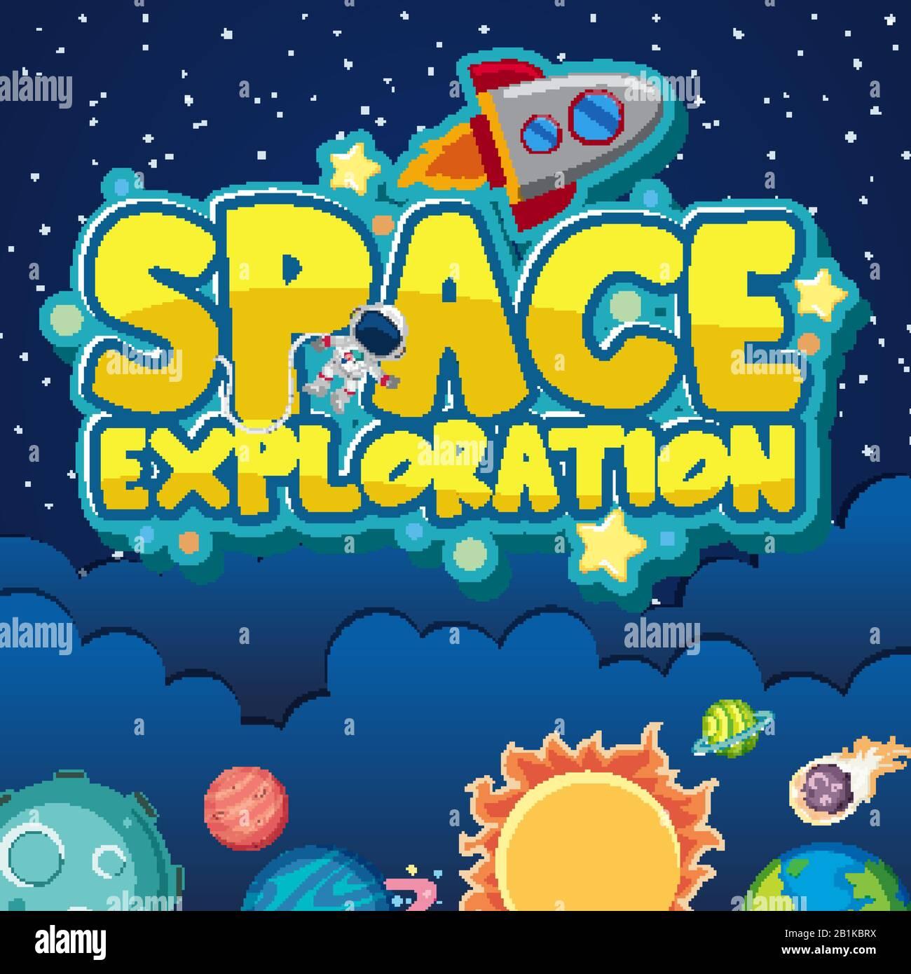 Diseño de pósteres para la exploración espacial con astronautas y naves espaciales en la ilustración de fondo espacial Ilustración del Vector