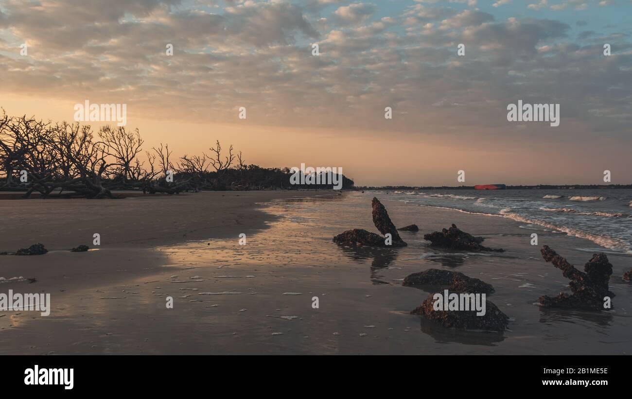 La costa con una colorida puesta de sol y el océano en la playa de madera a la deriva, Jekyll Island, Georgia. Foto de stock