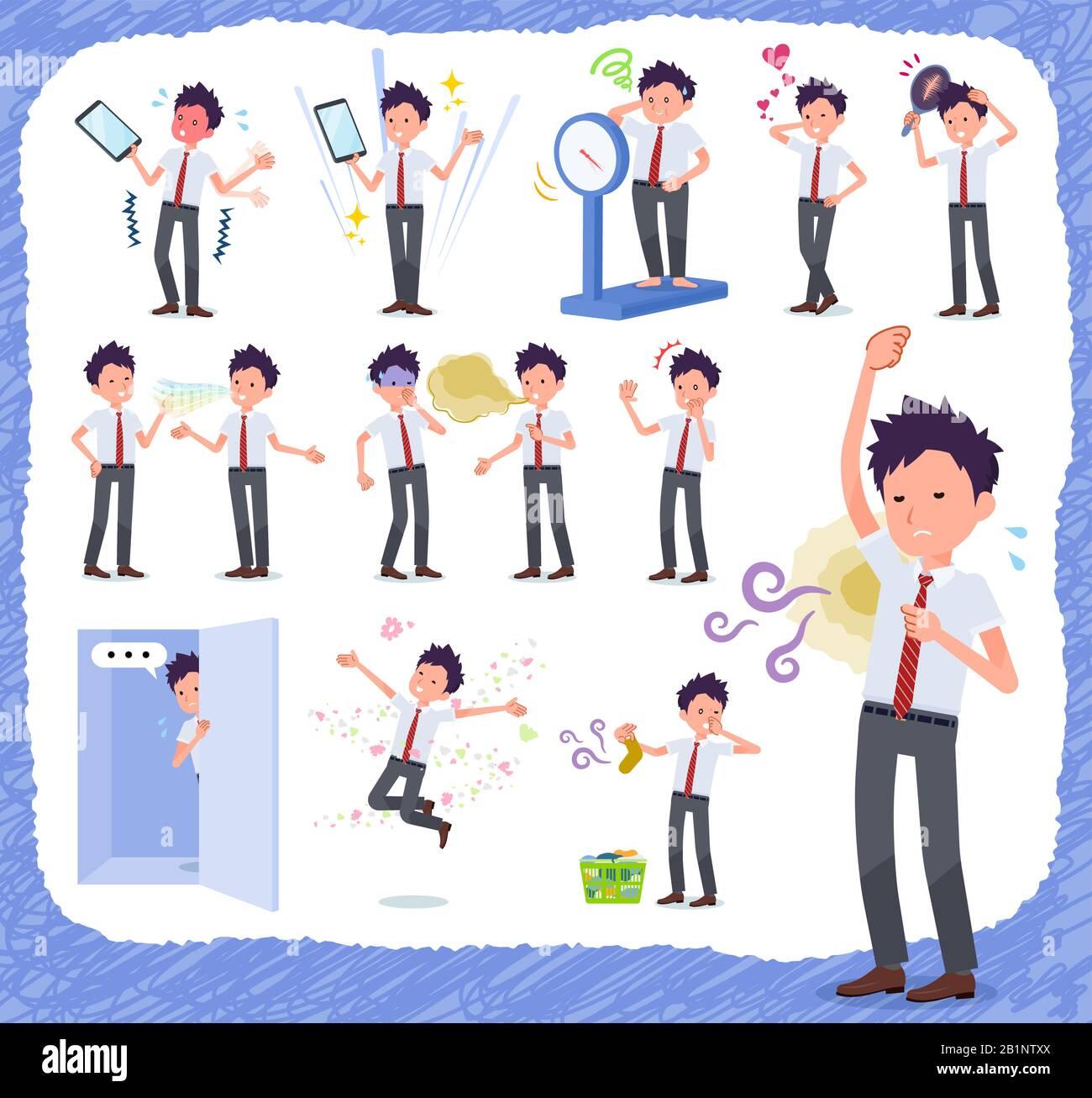 Un conjunto de schoolboy de manga corta en la inferioridad complex.There son acciones que sufren de olor y apariencia.It's arte vectorial así que es fácil de editar. Ilustración del Vector