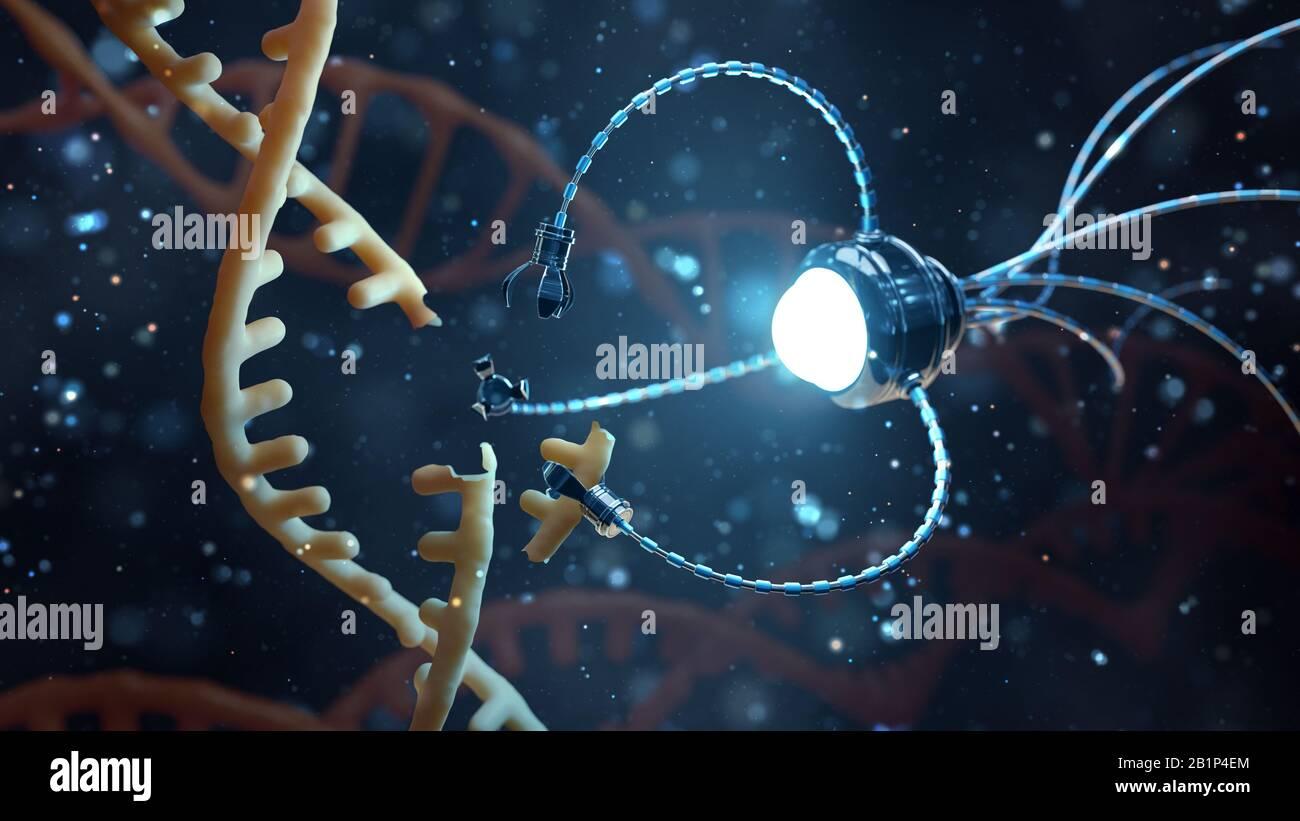 Concepto médico en el campo de la nanotecnología. La ingeniería genética y el uso de nanorobots para reemplazar parte de la molécula de ADN. 3 D ilustración. Foto de stock