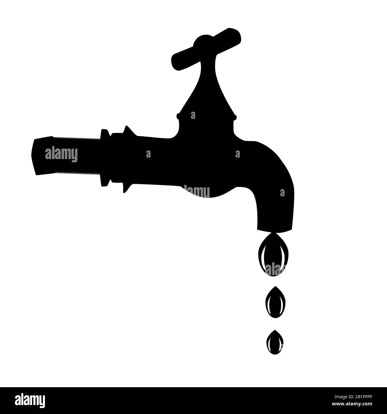 Toque el icono aislado sobre fondo blanco. Logotipo de la llave de paso de  agua. Grifo goteando silueta de señal negra. Símbolo de llave para diseño  de logotipo, aplicación, UI.Stock vector Imagen