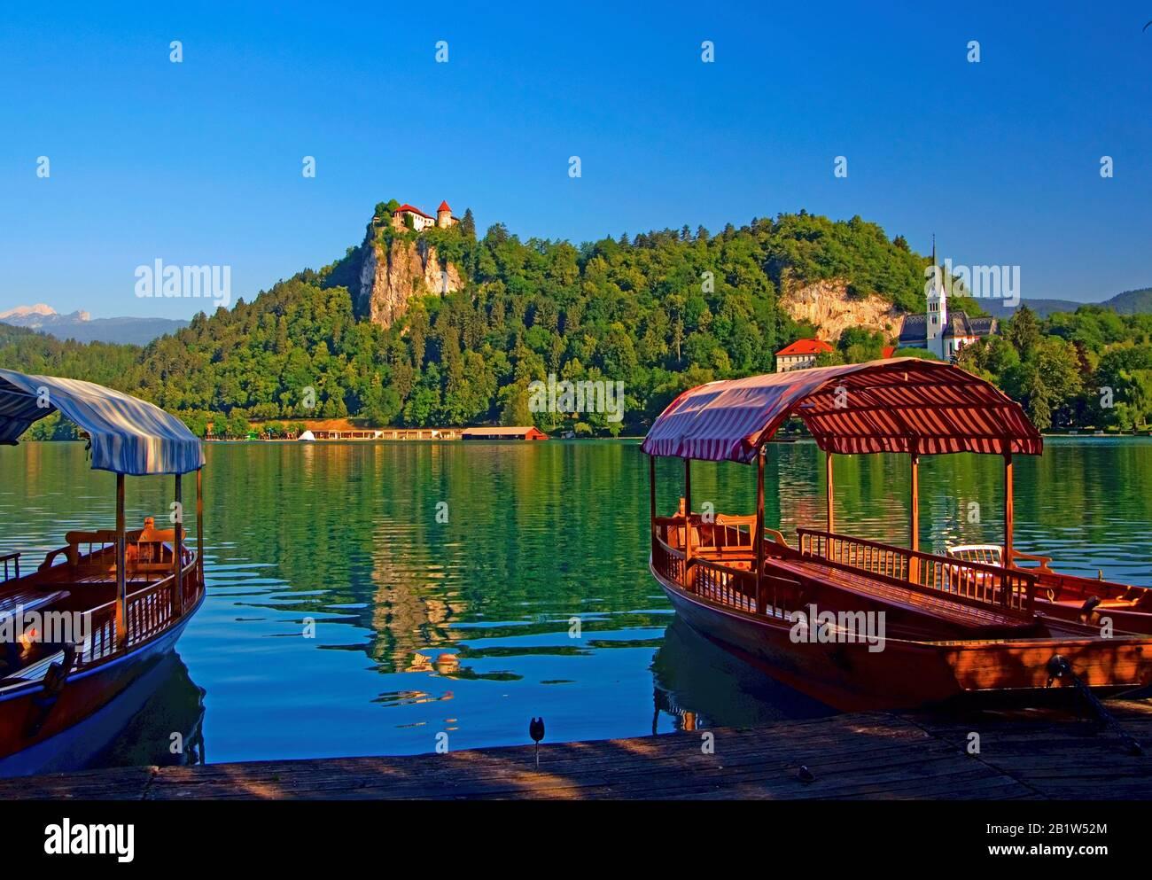 Temprano por la mañana y una vista del Grad a través del agua del Lago Bled, Eslovenia Foto de stock
