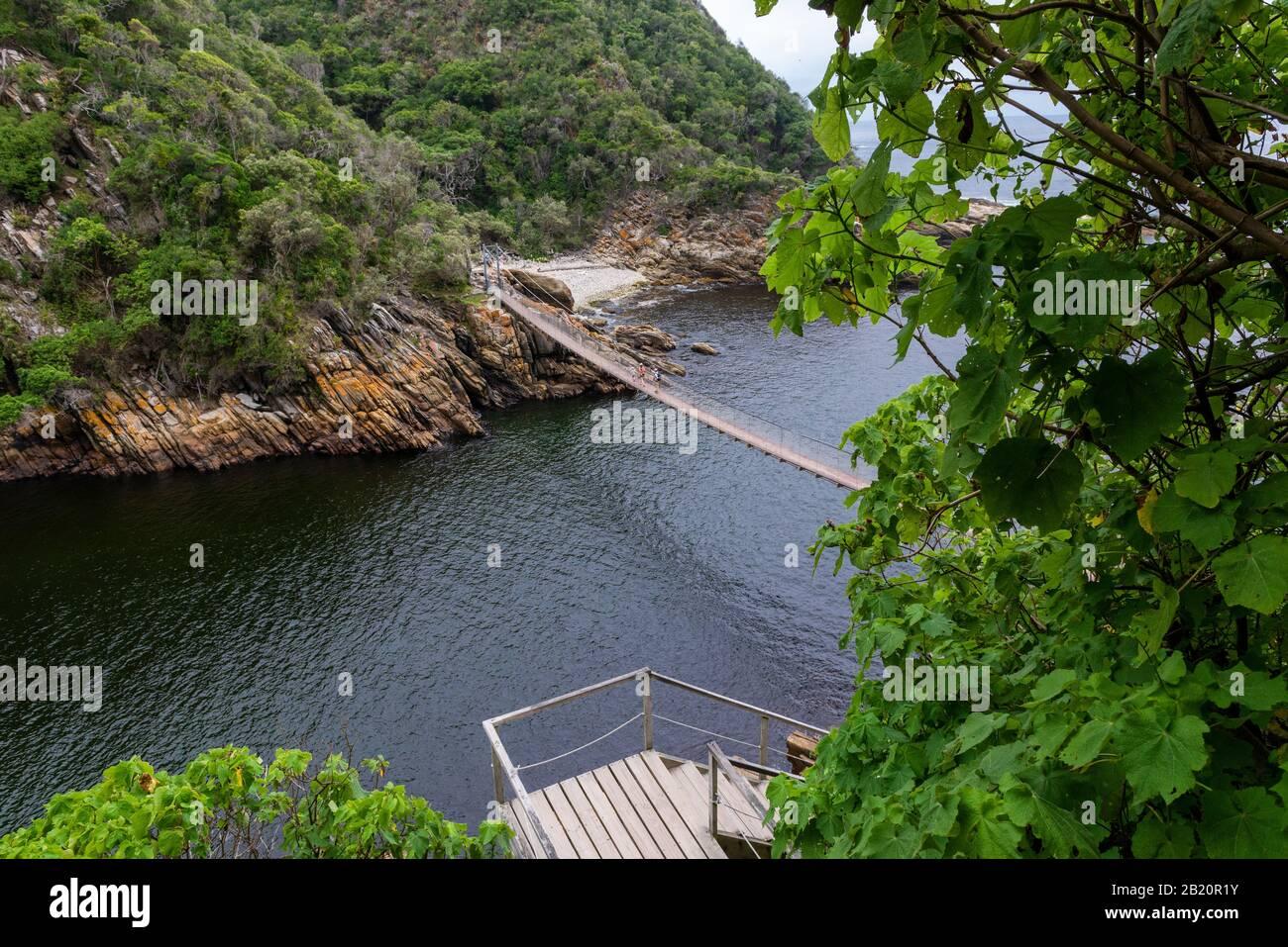 Vista de aspecto alto desde el punto de conexión del puente colgante en La Boca del río Storms, el Parque Nacional Tsitsikamma, Garden Route, cerca de Port Elizabeth, Sudáfrica Foto de stock
