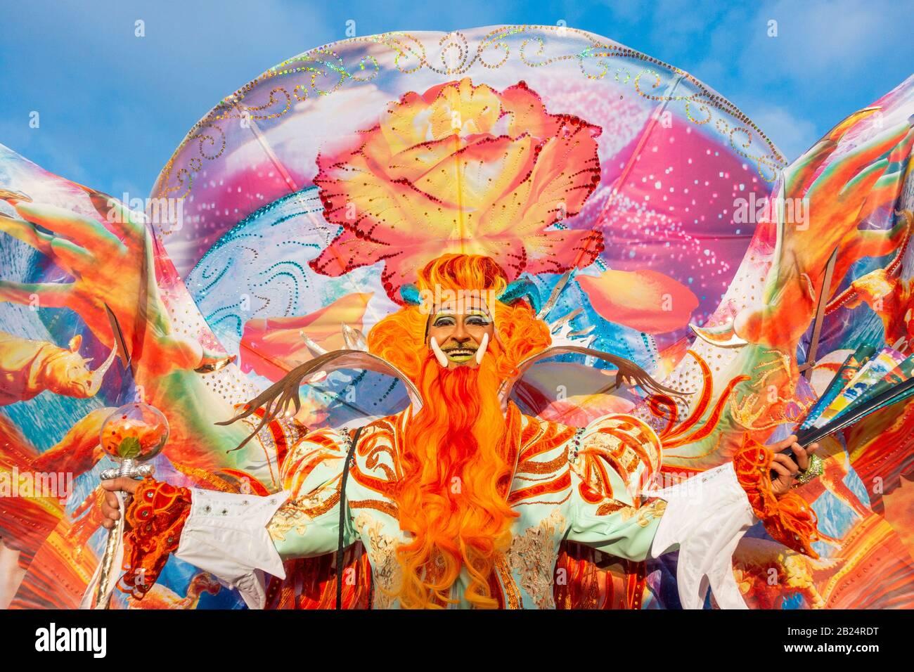 Las Palmas, Gran Canaria, Islas Canarias, España. 29 de febrero de 2020. Miles de personas disfrazadas de lujo en el enorme desfile callejero para marcar el final de la temporada de carnaval de las Palmas, la capital de Gran Canaria. Crédito: Alan Dawson/Alamy Live News Foto de stock