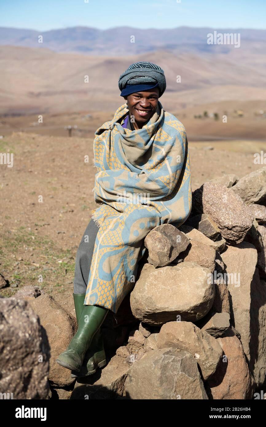Pastor basotho, Lesotho Foto de stock