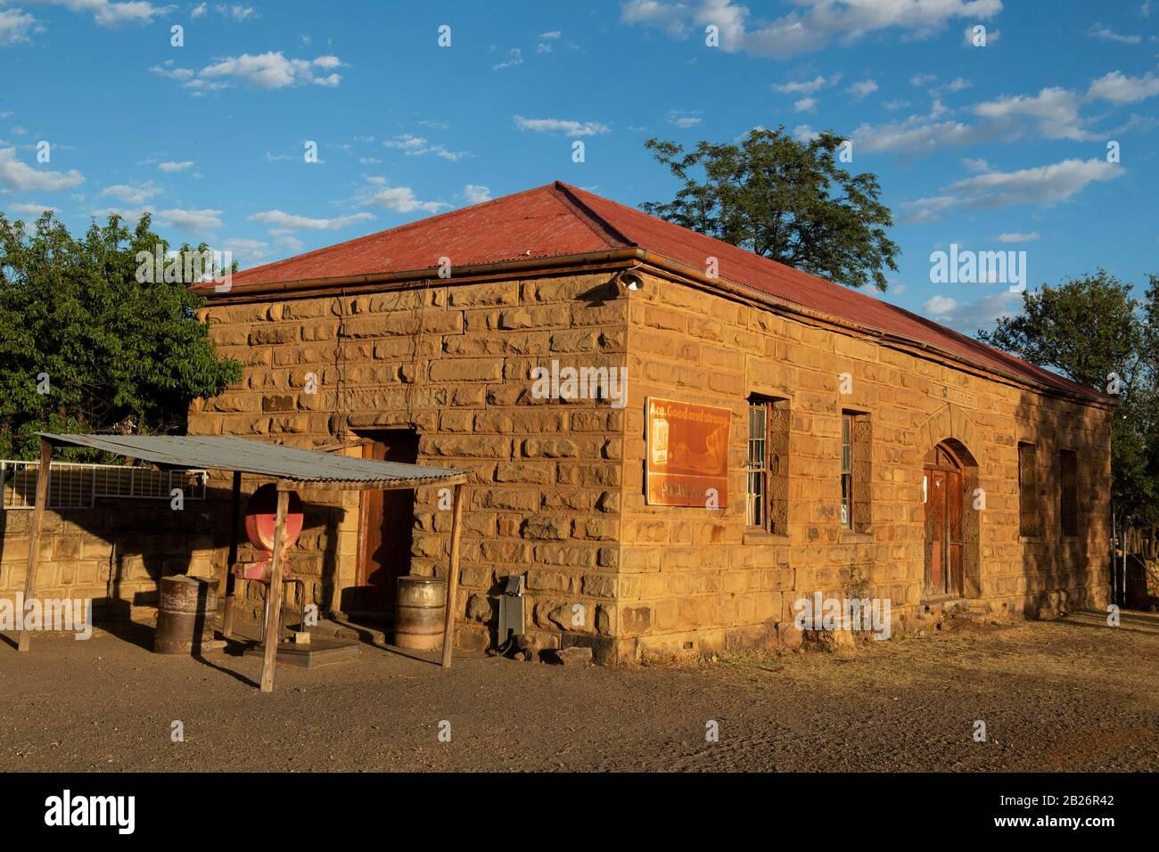 Histórico edificio de arenisca, Fort Hartley, Lesotho Foto de stock