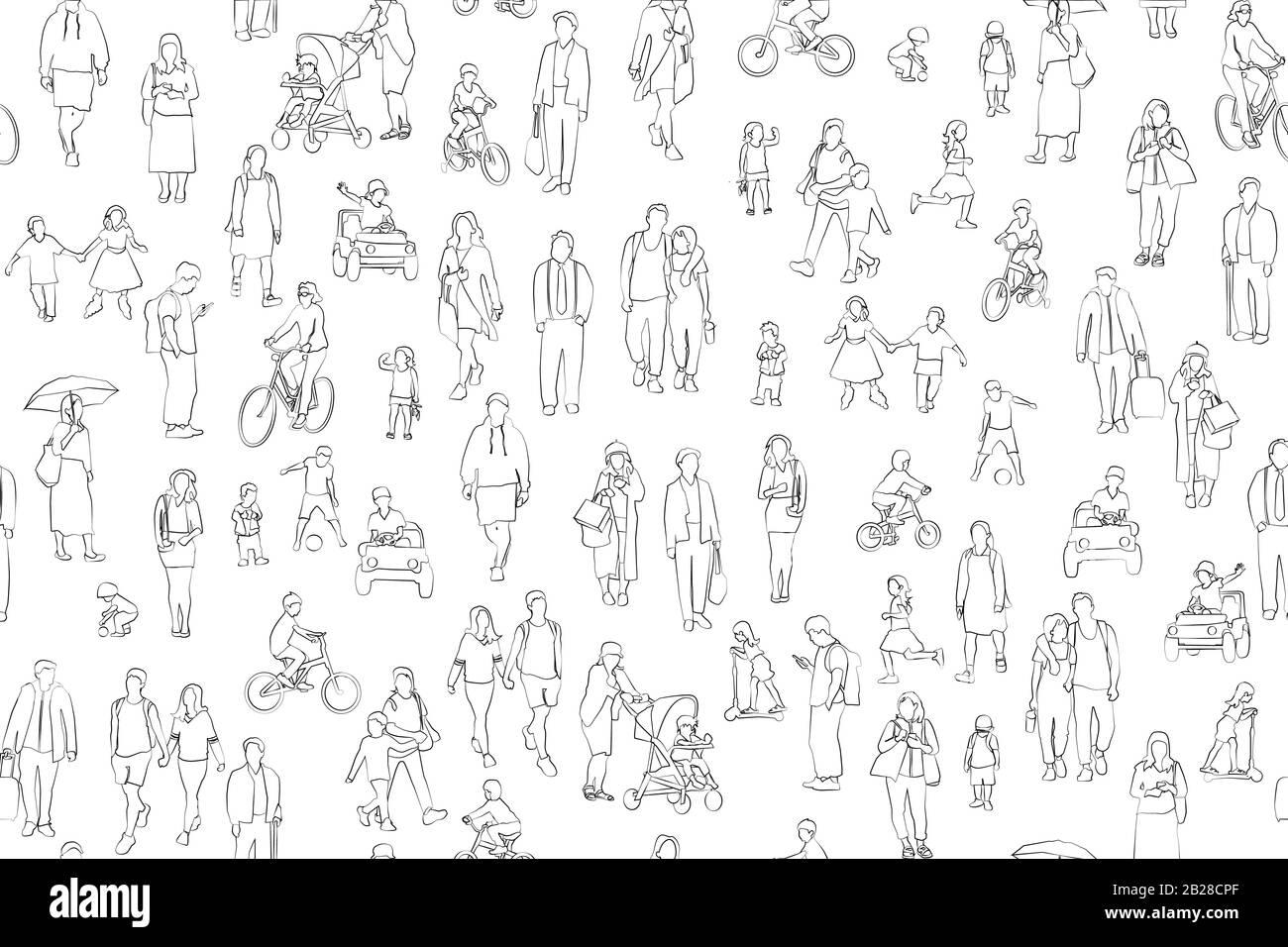 Multitud de personas ilustración vectorial . Grupo de hombres y mujeres adultos y niños personajes de dibujos animados sobre fondo blanco. Ilustración del Vector