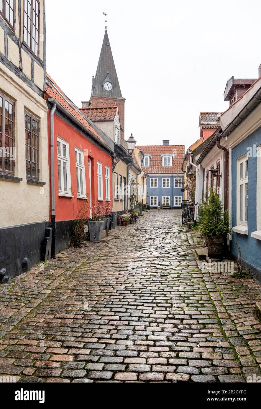 Bonitas y coloridas casas de campo en Aalborg, Dinamarca, en un día nevado de invierno. Foto de stock