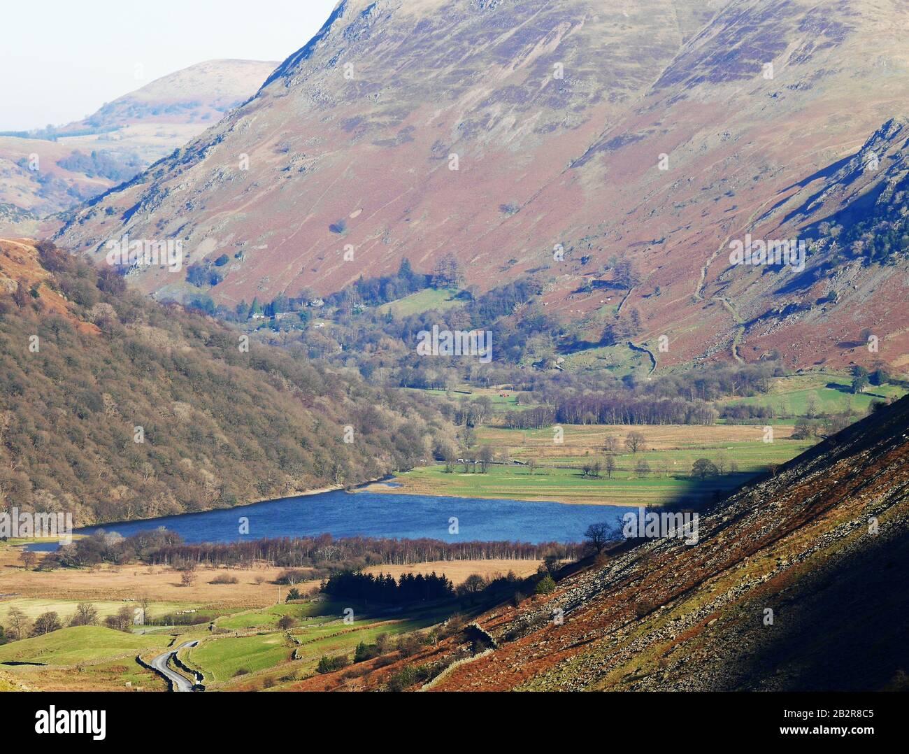 El Paso Kirkstone, Mirando Hacia Brotherswater, Lake District National Park, Cumbria, Inglaterra, Reino Unido Foto de stock