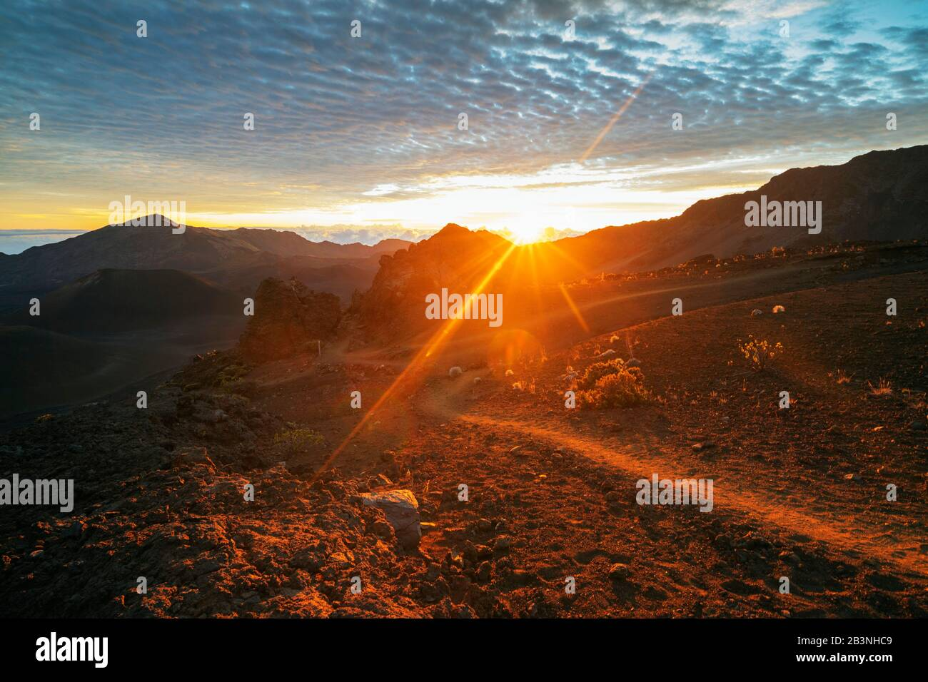 Parque Nacional Haleakala, paisaje volcánico al amanecer, Isla Maui, Hawai, Estados Unidos de América, América del Norte Foto de stock