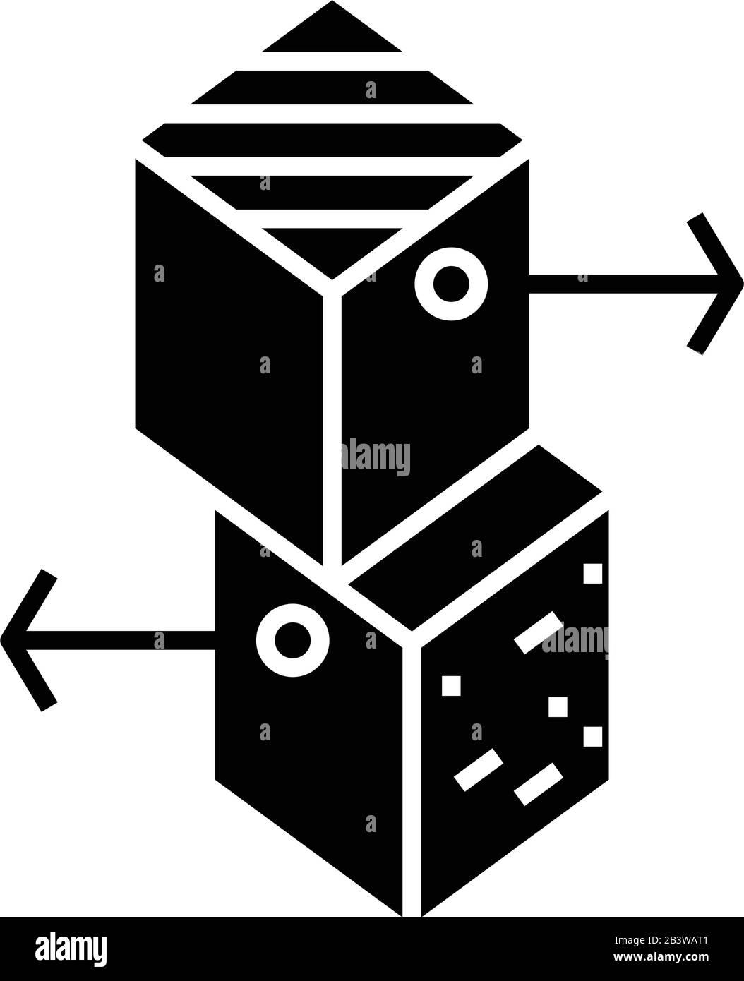 Relaciones icono negro, ilustración de concepto, símbolo de vector plano, signo de glifo. Ilustración del Vector