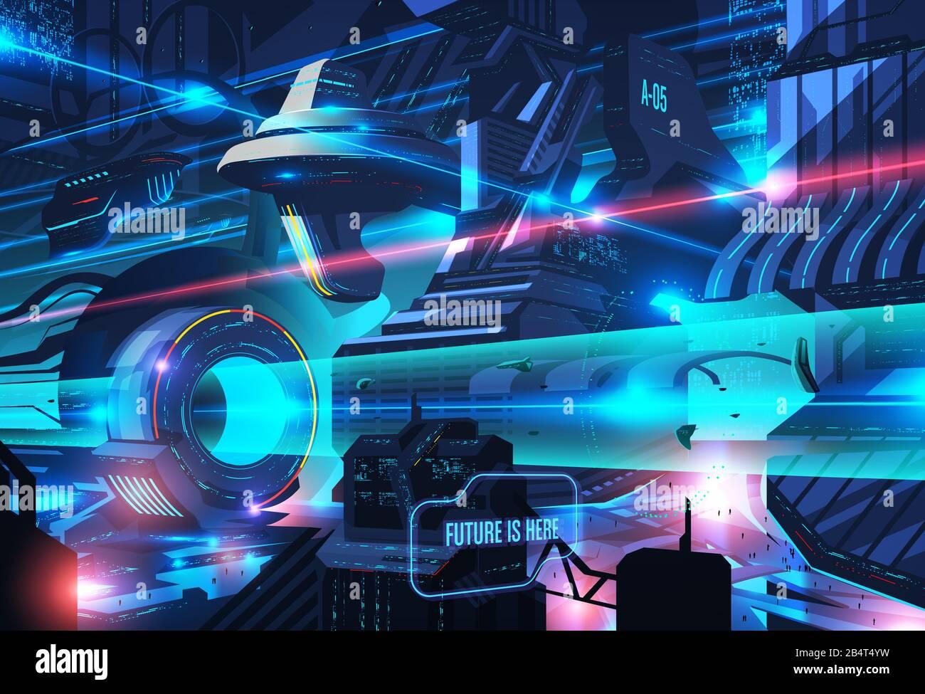 Una ilustración imaginativa de una ciudad futurista en arte vectorial Ilustración del Vector