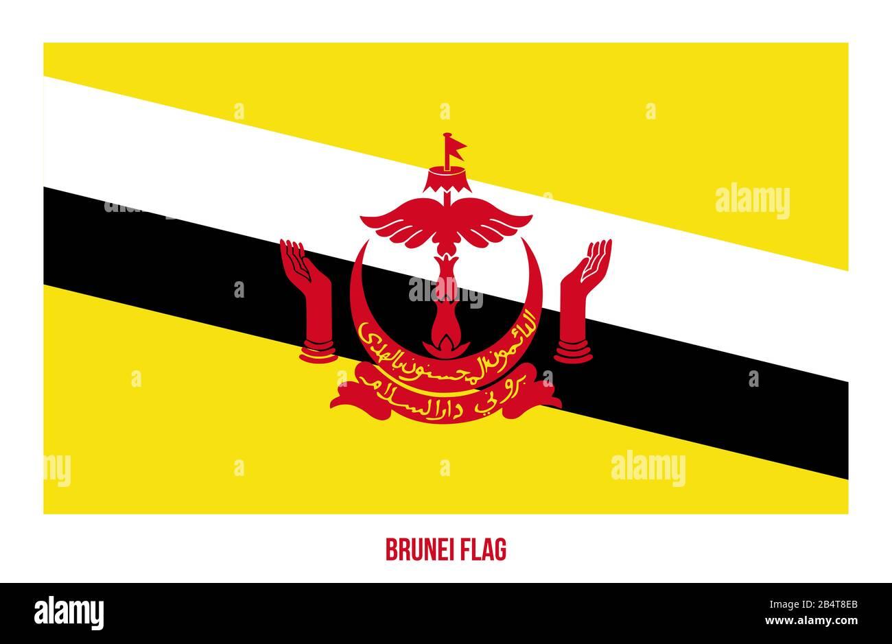 Brunei Bandera Vectorial Ilustración Sobre Fondo Blanco. Bandera Nacional De Brunei. Foto de stock