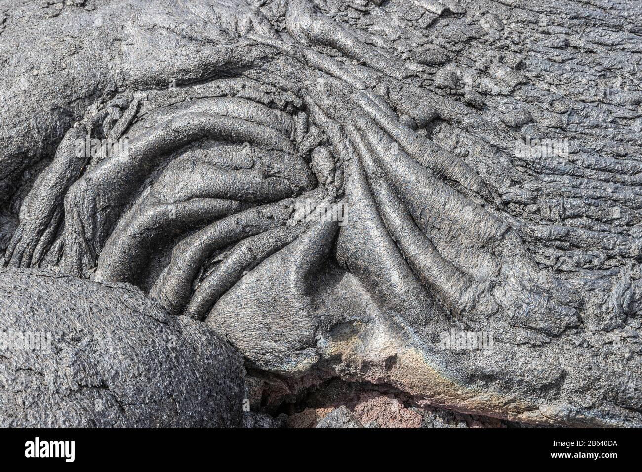 Pahoehoe Lava Cerca De La Cadena De Craters Rd, Hawaii Foto de stock