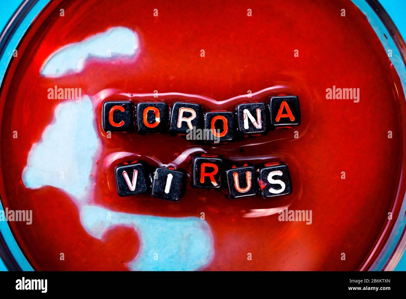 Placa Petri, brote de coronavirus Foto de stock