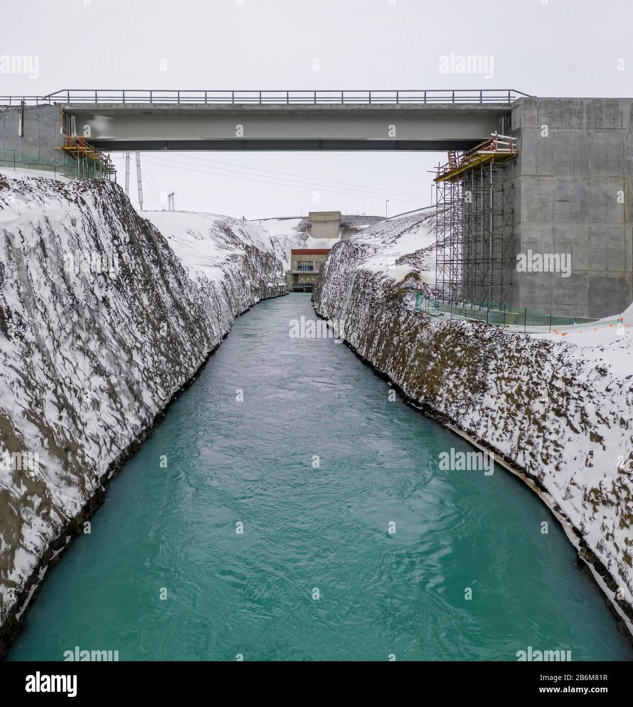 Central hidroeléctrica de Sultartangavirkjun, tierras altas centrales, Islandia Foto de stock