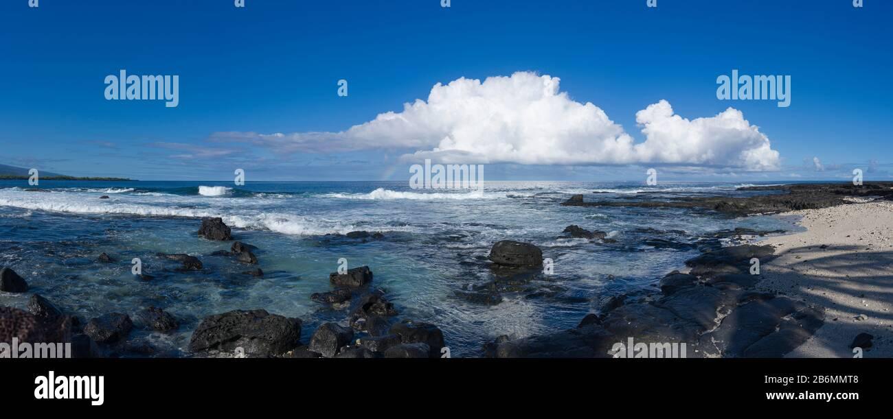 Vista del mar y la costa, South Kona, Hawaii, Estados Unidos Foto de stock