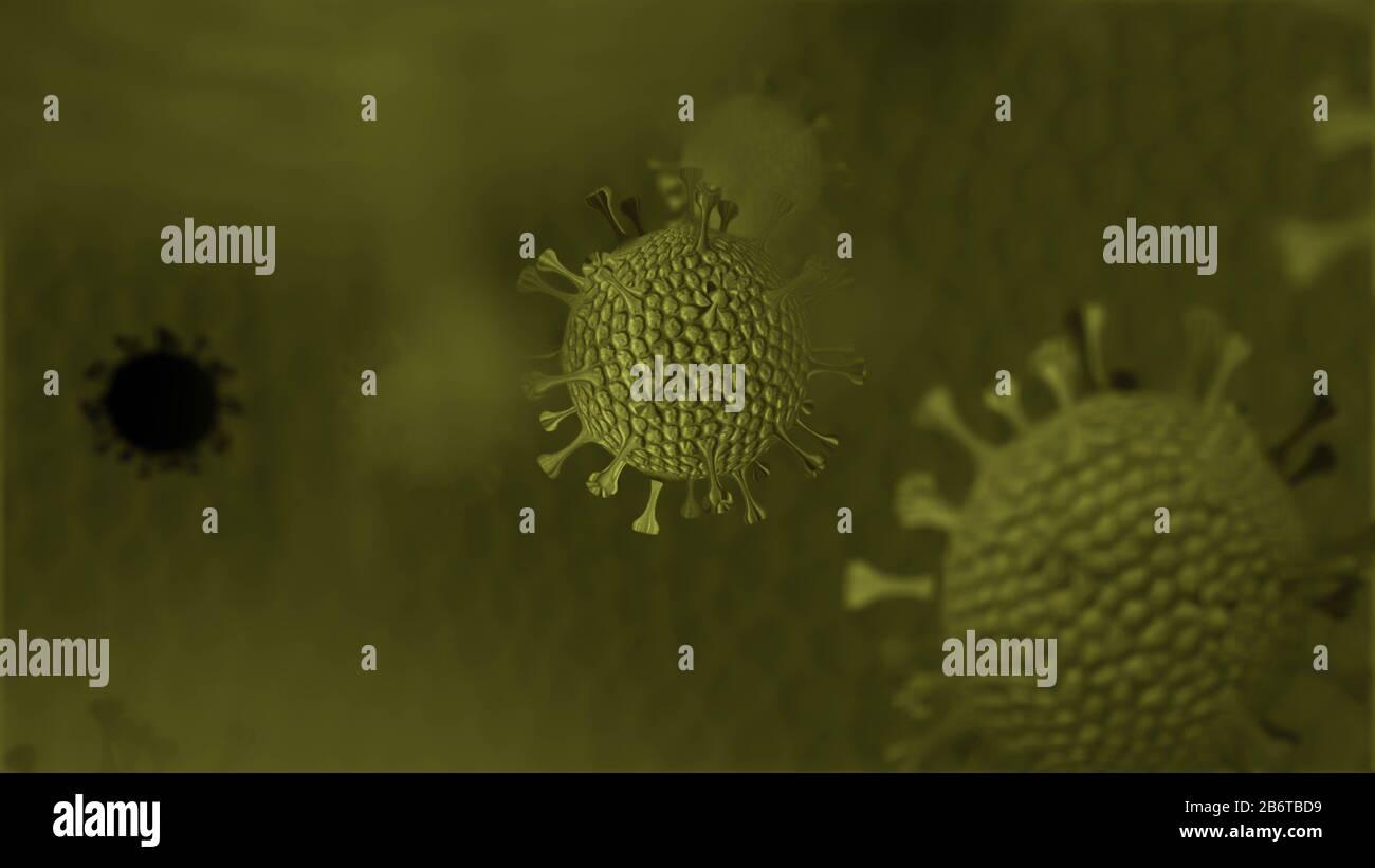 Antecedentes de coronavirus, muchos virus con desenfoque y espacio de copia Foto de stock