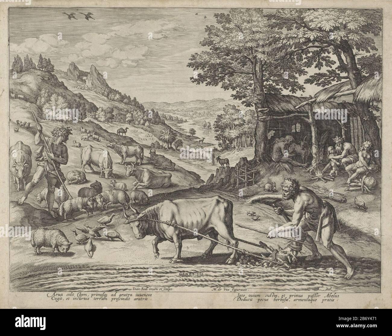 Caín arando un campo con un trekos. Abel hace un rebaño de vacas y ovejas. En el fondo derecho la choza de Adán y Eva. La impresión tiene una firma latina y es la quinta impresión de una serie de doce partes. Fabricante : impresor: Johann Sadeler (i) (mostrado sobre el objeto) al dibujo de: Marten de Vos (indicado sobre el objeto) a un diseño de: Johann Sadeler (i ) (edificio enumerado) escritor Johann Sadeler (i) editor: Johann Sadeler (i) Lugar de fabricación: Amberes Fecha: 1583 Características Físicas: Material del automóvil: Papel Técnica: Engra (proceso de impresión) Dimensiones: Borde de la plancha: Al 210 mm × An 257 mm Asunto: Cai Foto de stock