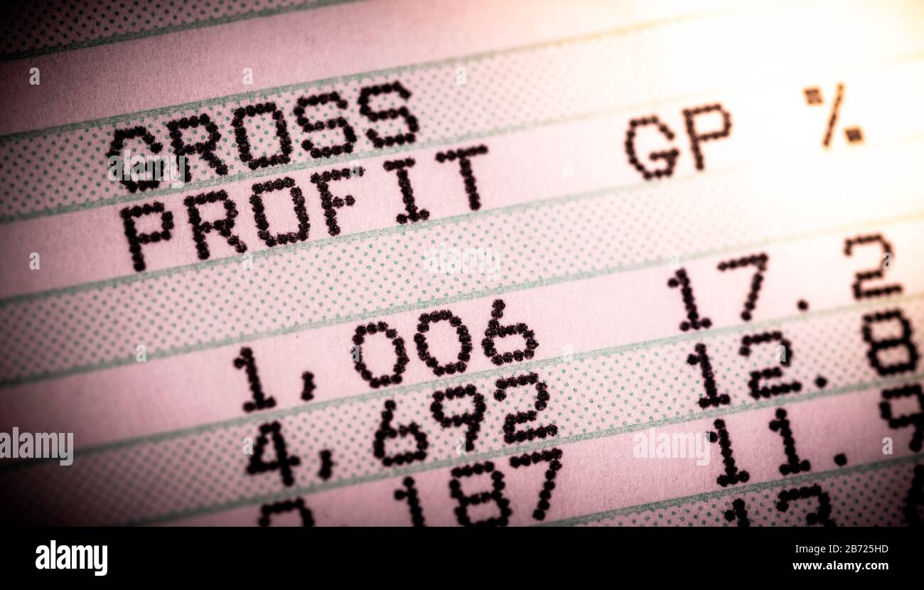 Barra verde Informe de ventas que muestra los beneficios brutos Foto de stock