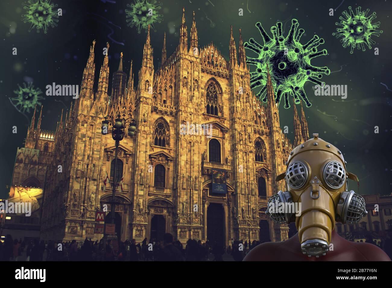 Coronavirus en la catedral de Milán: Virus covid-19 en Italia Foto de stock