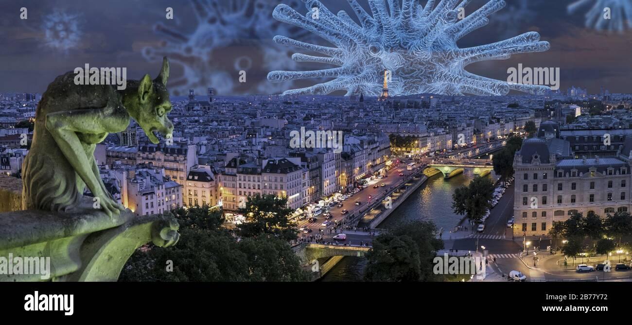 Coronavirus en París, epidemia en Francia Foto de stock