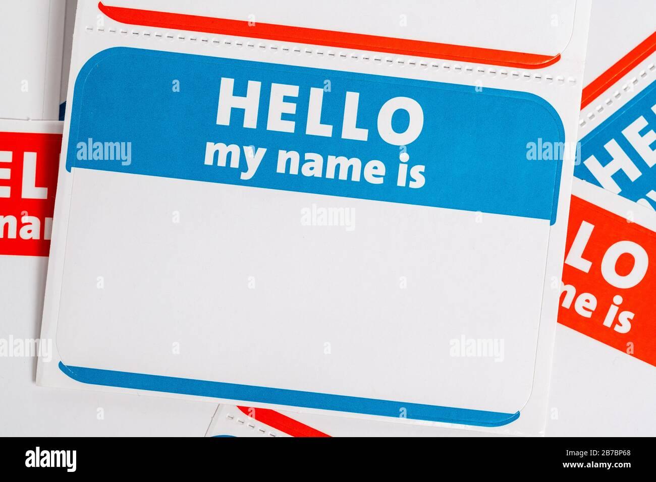 Hola mi nombre es nombre insignia papel aticker Foto de stock